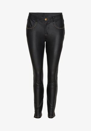 ANITA - Leather trousers - black gold