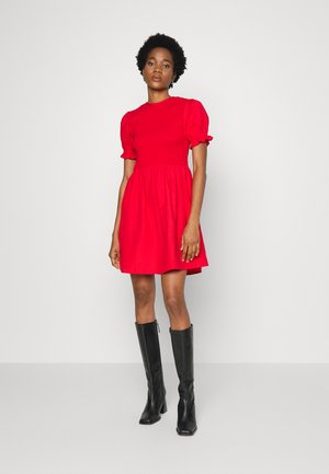 JOSSA SHIRRED DRESS WITH PUFF SLEEVES - Day dress - red