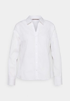 BASIC NOTCH NECK BLOUSE - Blouse - white