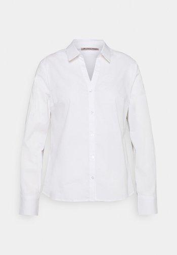BASIC NOTCH NECK BLOUSE - Blouse - white