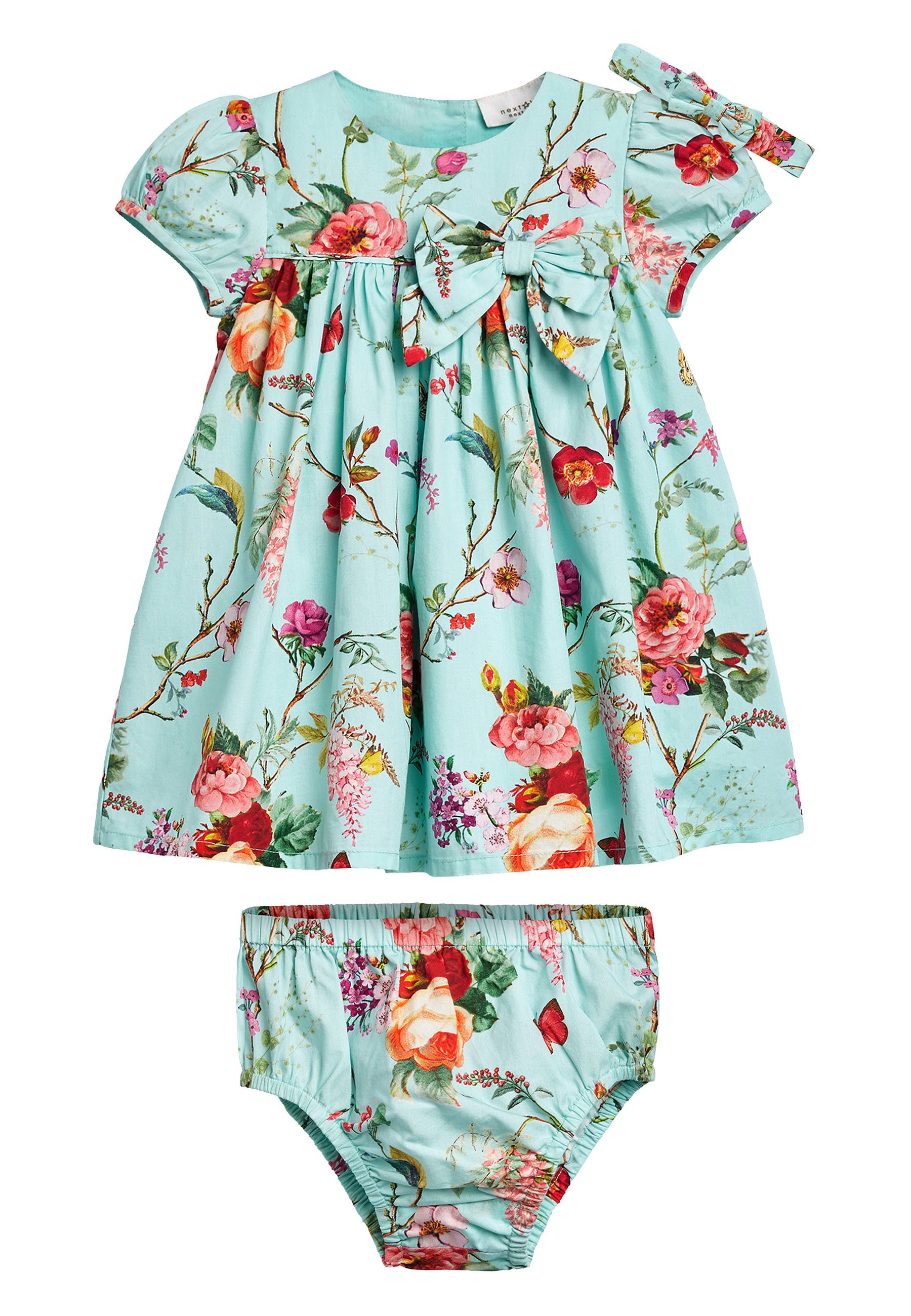Bambini TEAL FLORAL PROM DRESS WITH KNICKERS AND HEADBAND (0MTHS-2YRS) - Vestito estivo