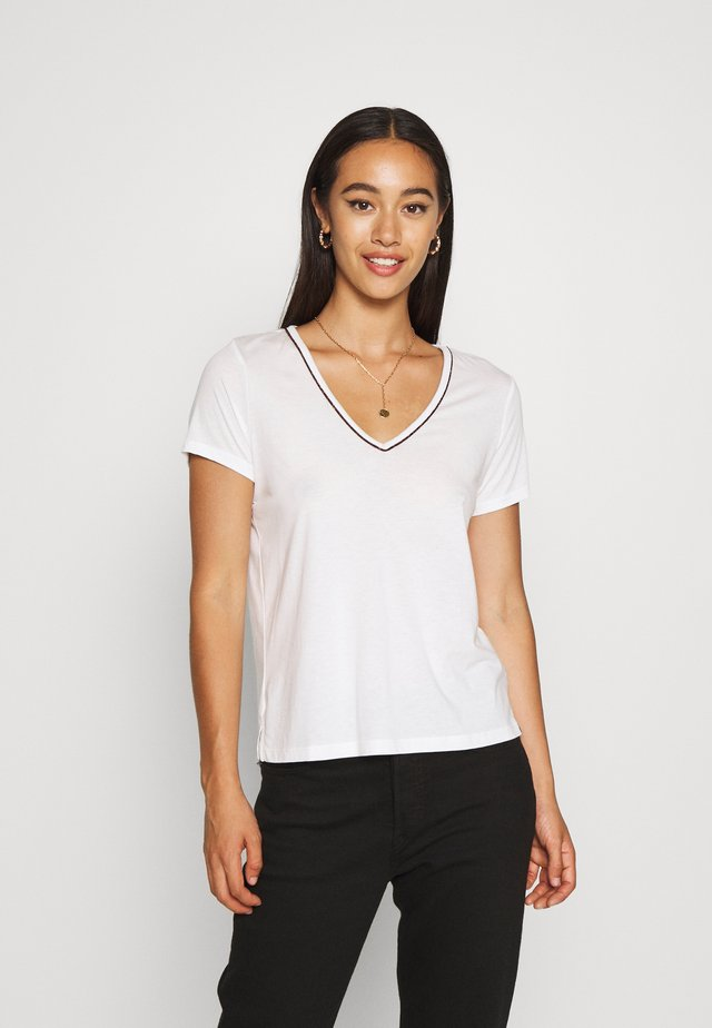 TEE WITH PIPING - T-shirt imprimé - off white