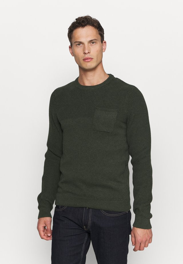 Jumper - mottled dark green