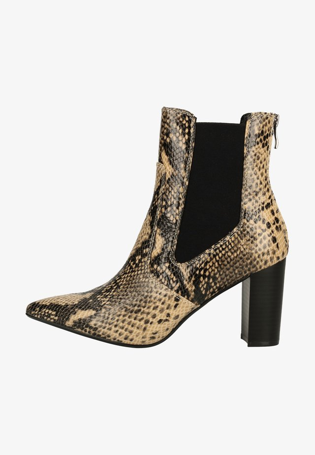 High heeled ankle boots - snake natural