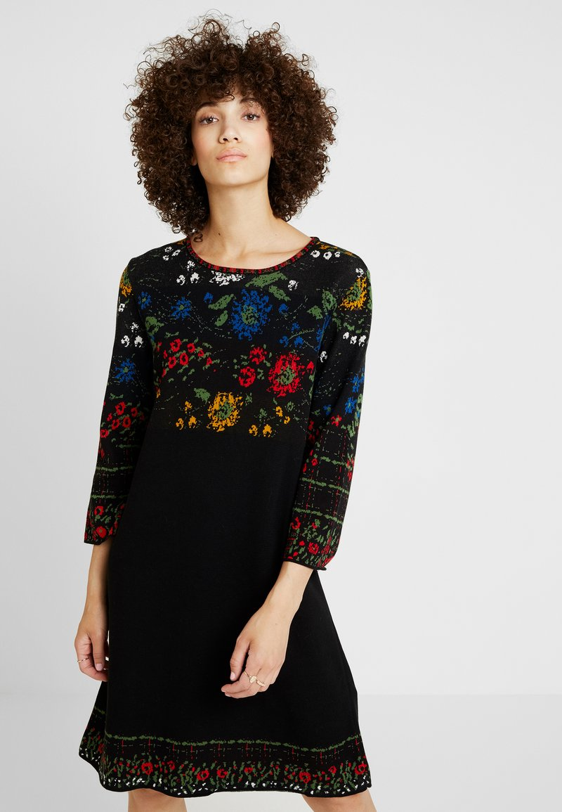 Ivko - DRESS FLORAL PATTERN - Jumper dress - black