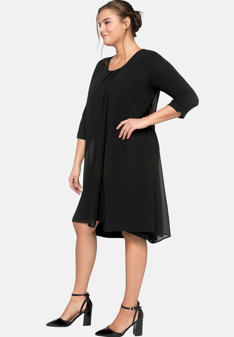 Sheego Robe Jersey Robe manches longues noir taille 48 grande taille 466