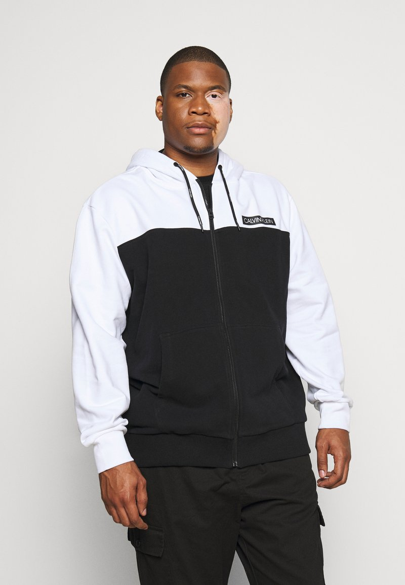 Calvin Klein - COLOR BLOCK ZIP HOODIE - Zip-up hoodie - black