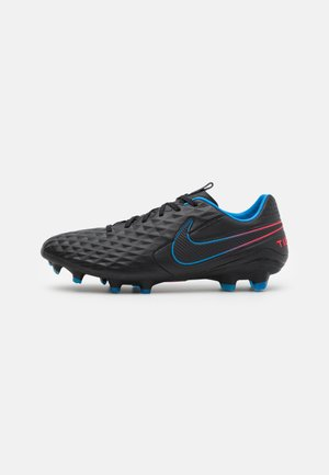 TIEMPO LEGEND 8 PRO FG - Moulded stud football boots - black/siren red/light photo blue