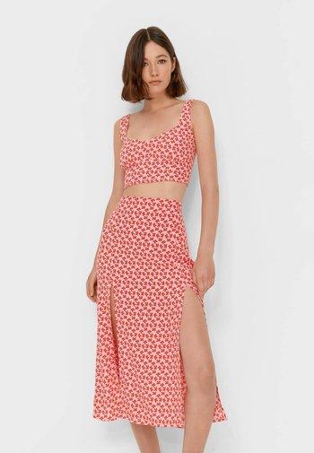 MIT BLUMENPRINT - A-line skirt - neon pink
