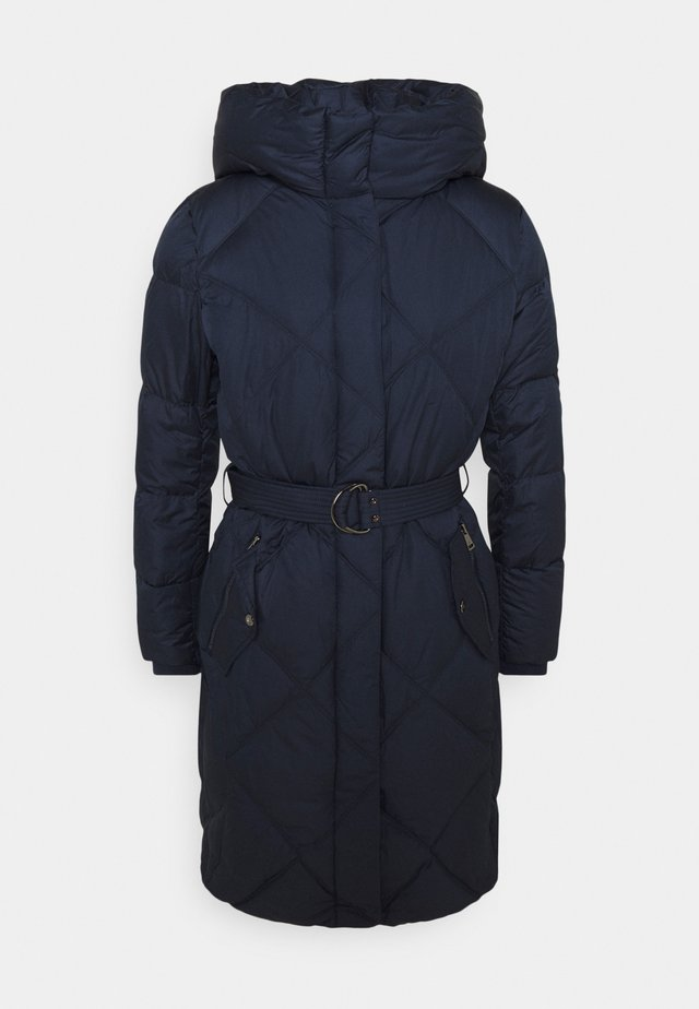 MATTE FINISH COZY BELTED COAT - Down coat - navy