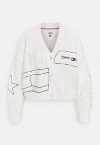 Tommy Jeans Curve - PATCHWORK HEART CARDIGAN - Cardigan - snow white - 0