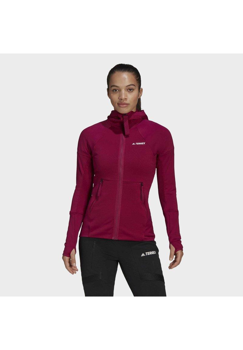 adidas Performance - Zip-up hoodie - burgundy