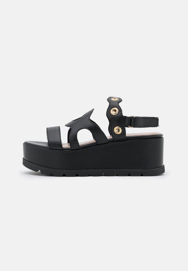 WEDGES - Sandały na platformie - black