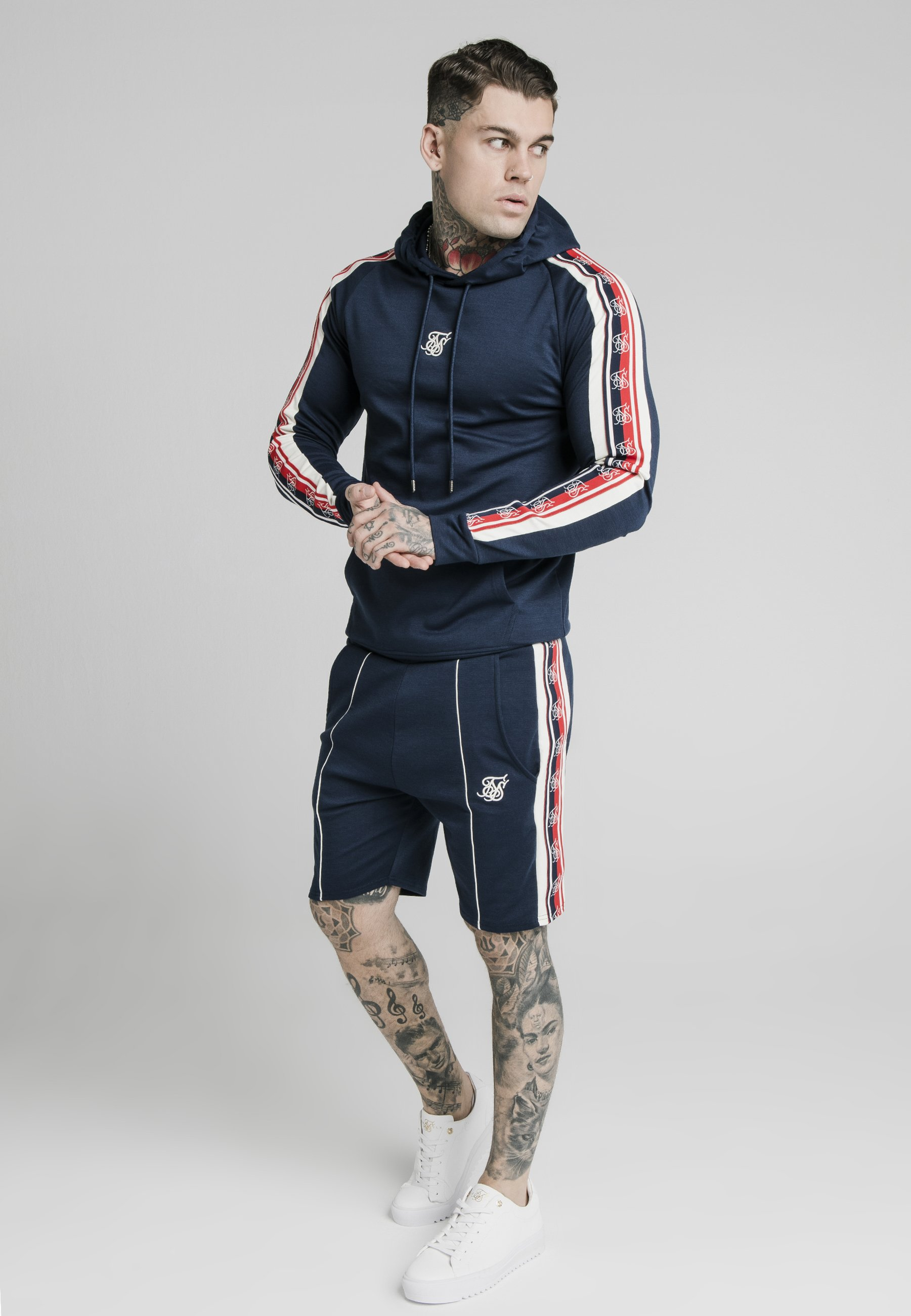 SIKSILK RETRO TAPE OVERHEAD HOODIE - Huppari - navy uK3jIohY