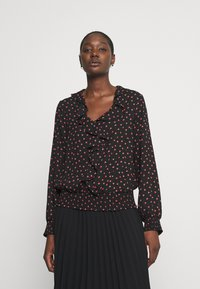 Wallis - HEART PRINT RUFFLE SHIRRED HEM TOP - Blouse - black - 0