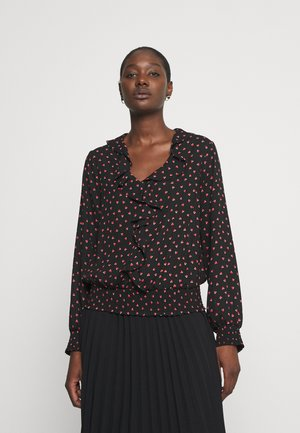 HEART PRINT RUFFLE SHIRRED HEM TOP - Blouse - black