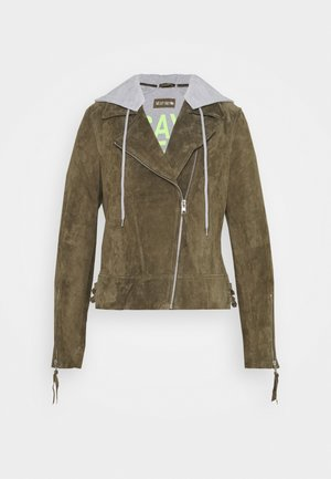 DAILY COOL - Leather jacket - olive