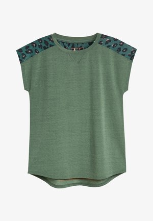 SHORT SLEEVE MESH PANEL - Camiseta estampada - green