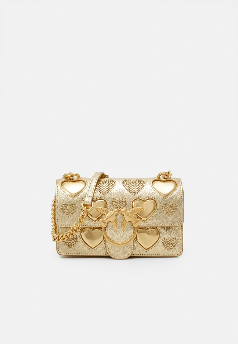 Pinko - LOVE MINI ICON STUDDED HEART BOTTALATO STUDS - Torba na ramię - gold