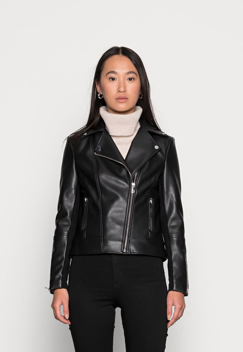 Forever New - CORRIE BIKER - Faux leather jacket - black