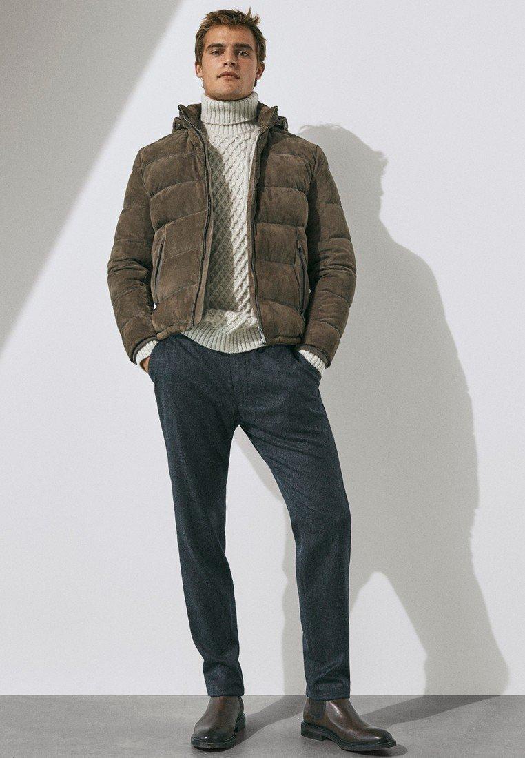 Massimo Dutti - MIT DAUNENFÜLLUNG  - Leather jacket - brown
