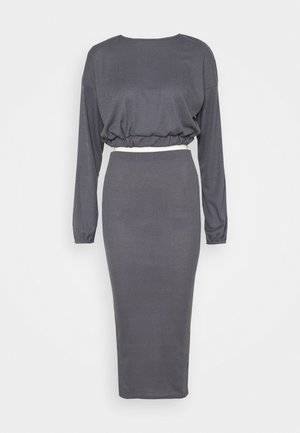 RIB CROP AND MIDAXI SKIRT - Long sleeved top - grey
