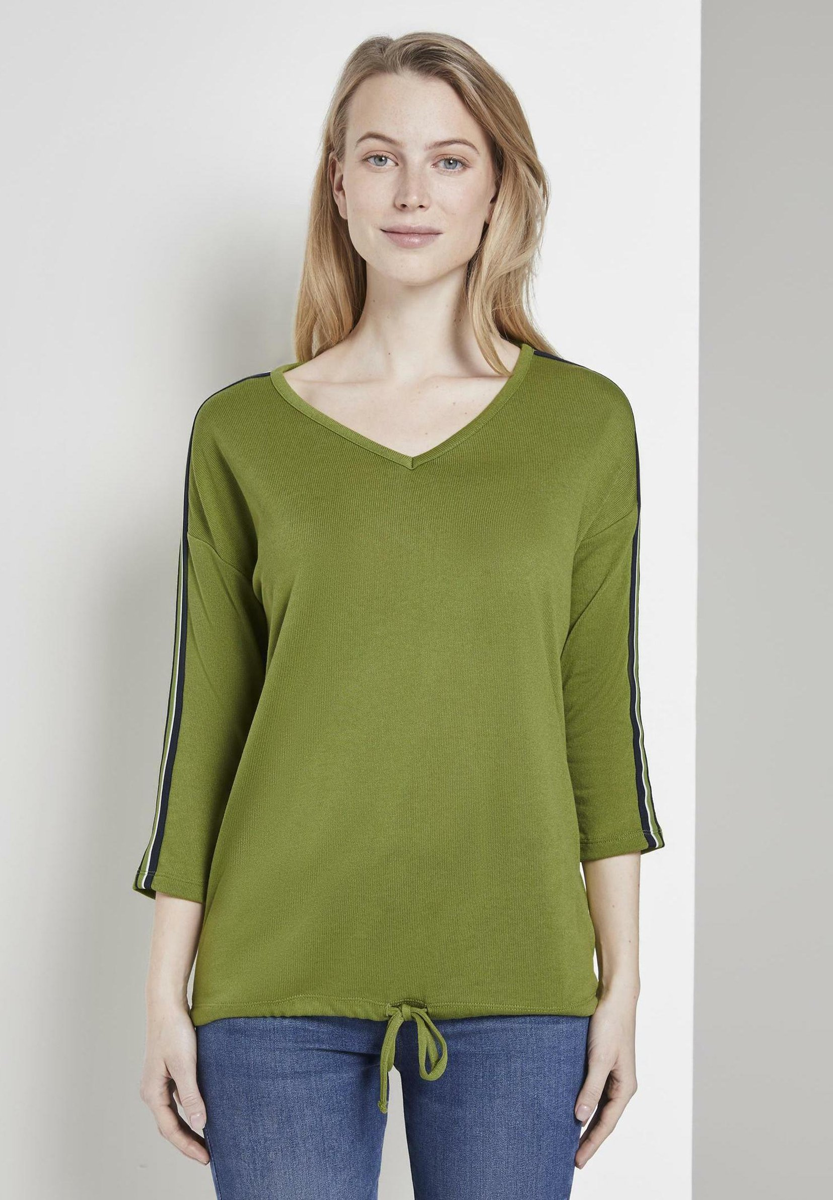 TOM TAILOR 3/4 ARM SHIRT MIT TAPE - T-shirt à manches longues - wood green - Tops & T-shirts Femme FPgtd