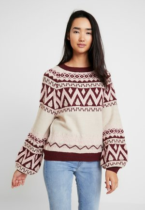 Strickpullover - natural melange/tawny port