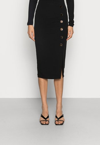 TORTOISE BUTTON SKIRT - Pencil skirt - black