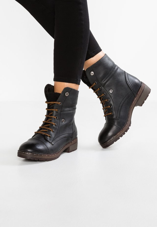 BRING - Bottines à lacets - black