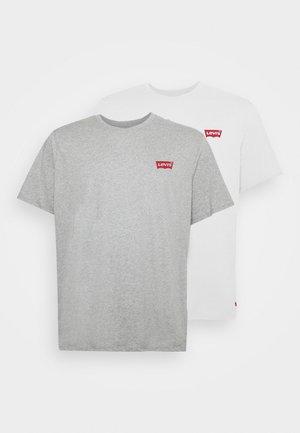 2 PACK - Printtipaita - white/mid grey heather
