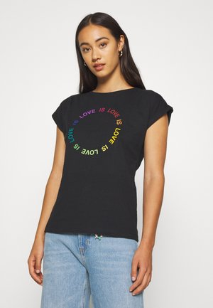 VISBY LOVE CIRCLE - T-shirts print - black