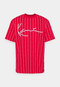 Karl Kani - SIGNATURE LOGO PINSTRIPE TEE - Print T-shirt - red - 5