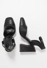 Lost Ink Wide Fit - SQUARE TOE STRAP SHOE - Zapatos altos - black - 3