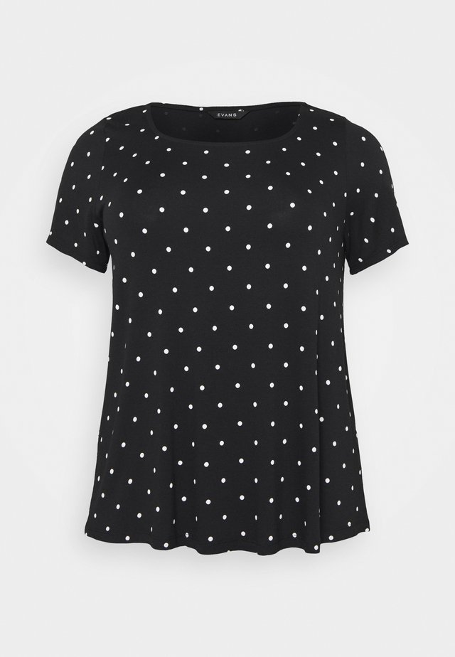 SPOT SQUARE NECK - T-shirt con stampa - navy
