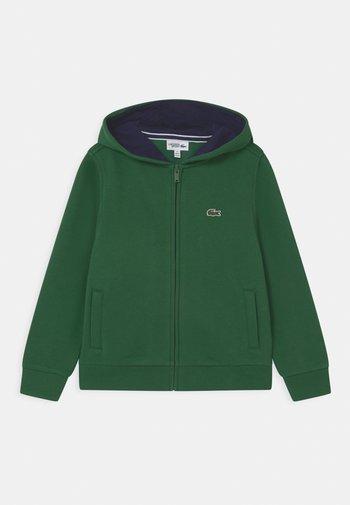 Sweat à capuche zippé - green/navy blue