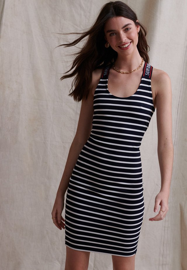 CITY  - Shift dress - navy stripe