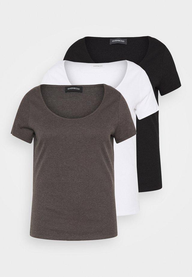 3 PACK - Basic T-shirt - mottled dark grey/white/black/