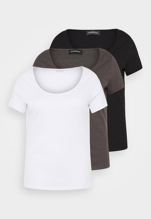 3 PACK - Basic T-shirt - mottled dark grey/white/black/