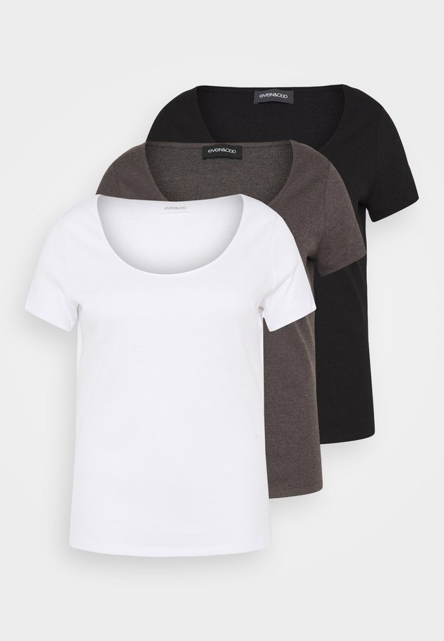 3 PACK - T-paita - mottled dark grey/white/black/