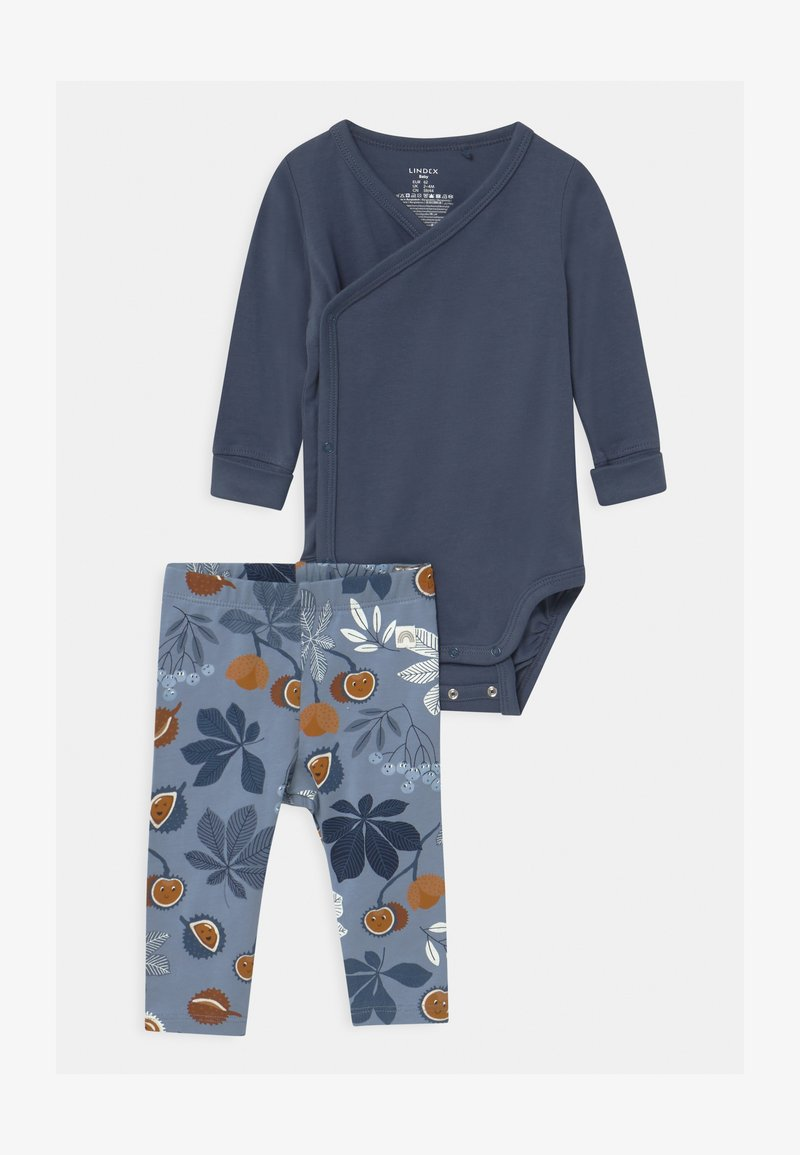 Lindex - CHESTNUT SET - Leggings - Trousers - dusty blue