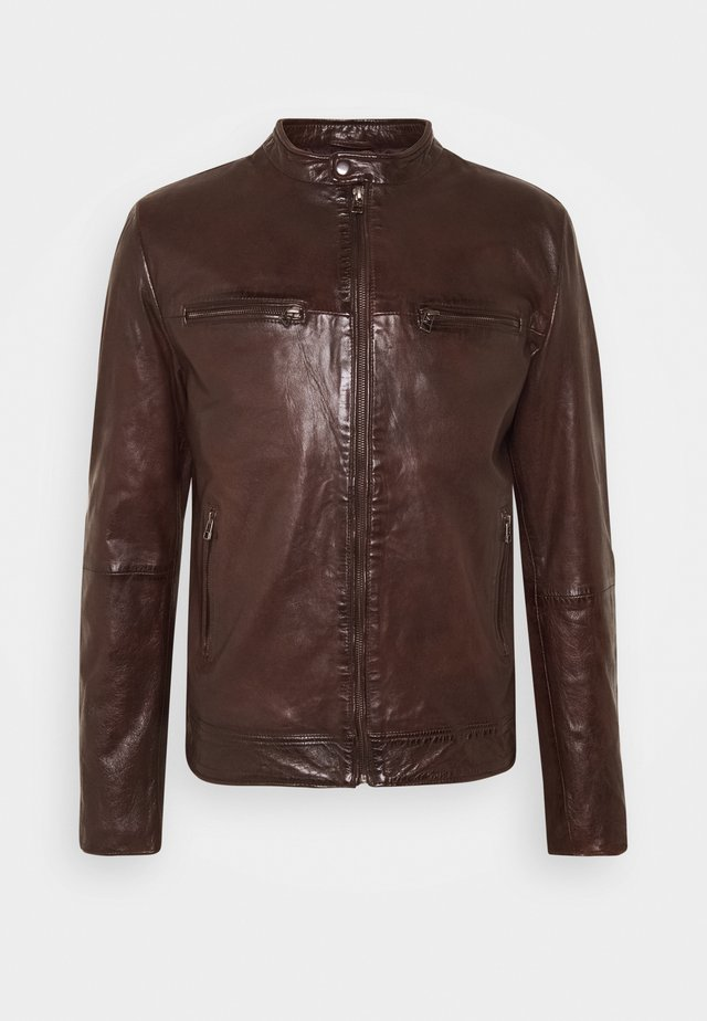 KYLL BIKER - Leather jacket - brick red