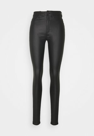 NMCALLIE COATED PANTS - Pantalon classique - black