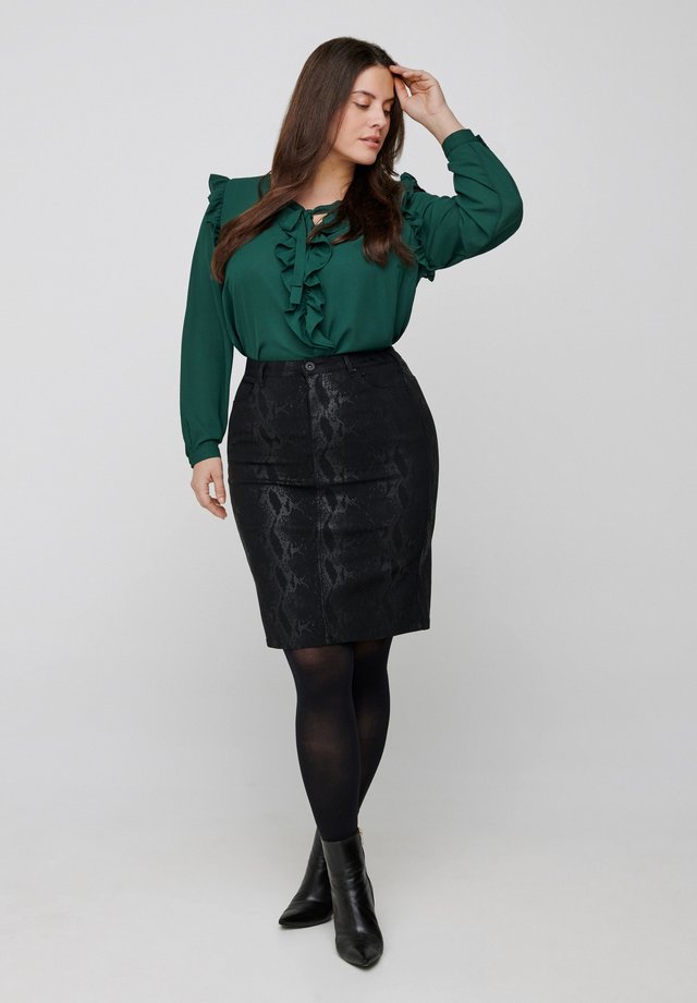 WITH RUFFLES - Blus - dark green