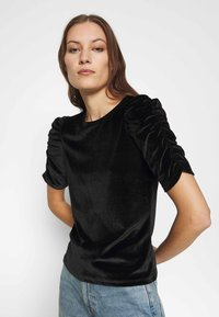 Dorothy Perkins - RUCHE SLEEVE TEE - Basic T-shirt - black - 3
