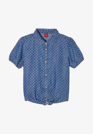 MET GEKNOOPT DETAIL - Button-down blouse - dark blue