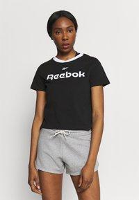 Reebok - LINEAR LOGO TEE - Print T-shirt - black - 0