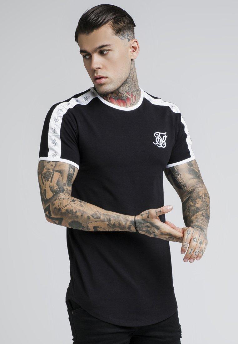 SIKSILK - TAPE SHOULDER GYM TEE - T-shirt imprimé - black