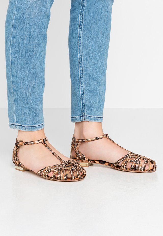 Ankle strap ballet pumps - jungle camel
