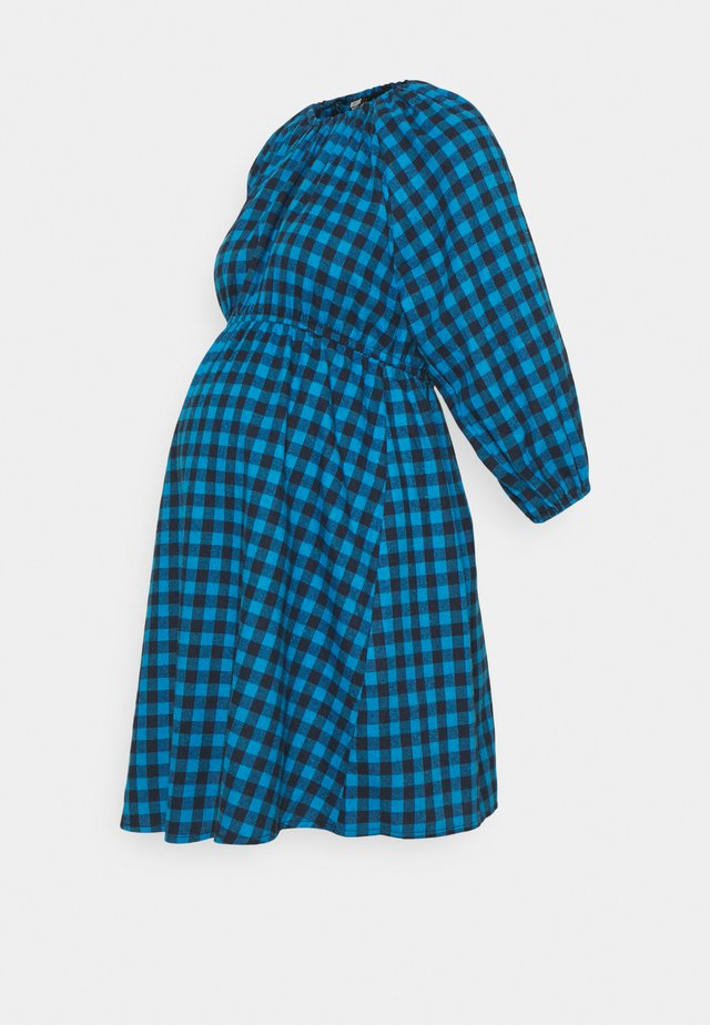 PUFF SLEEVE GINGHAM DRESS - Jersey dress - blue